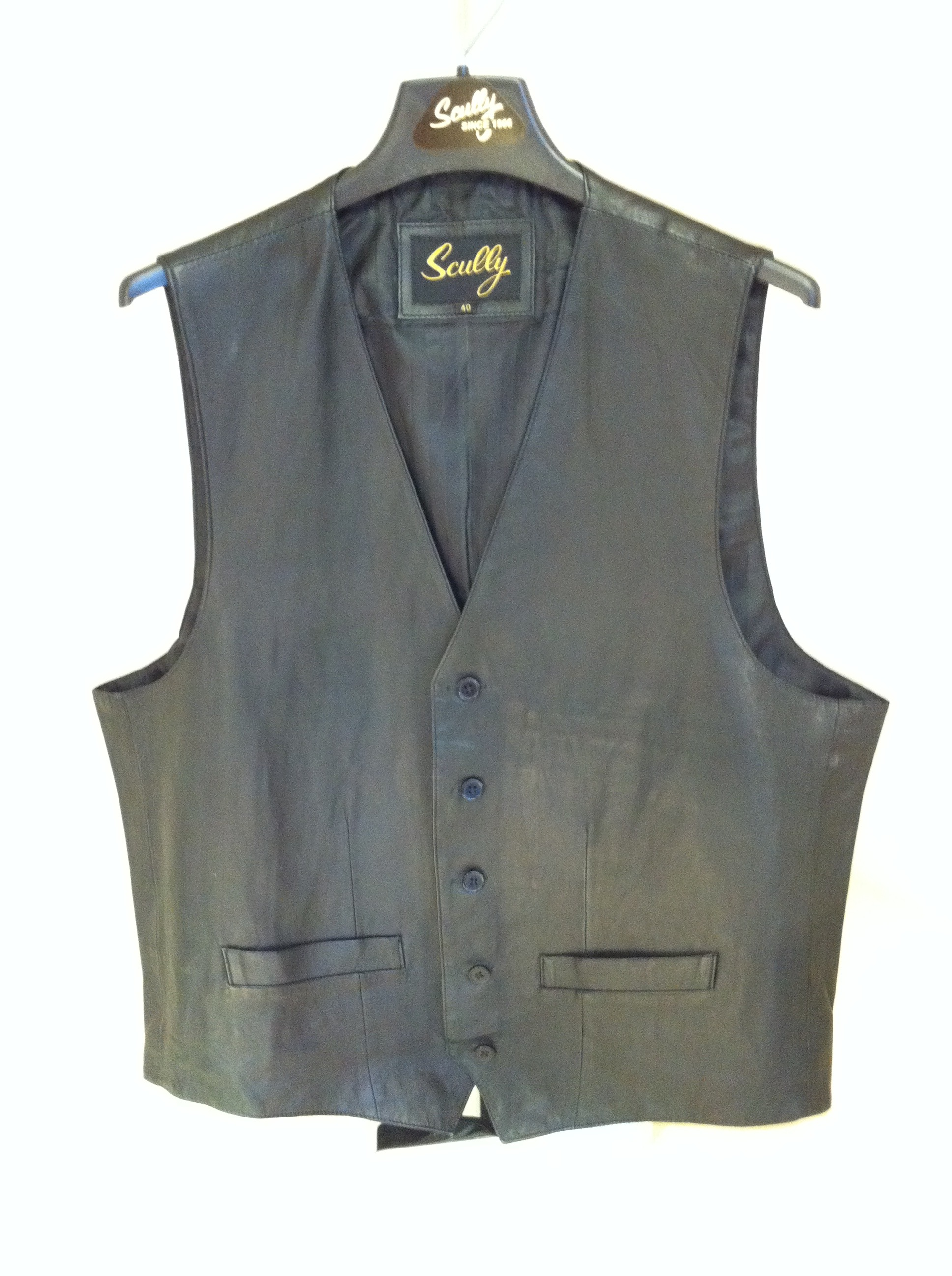 Scullys Mens Black Leather Vest