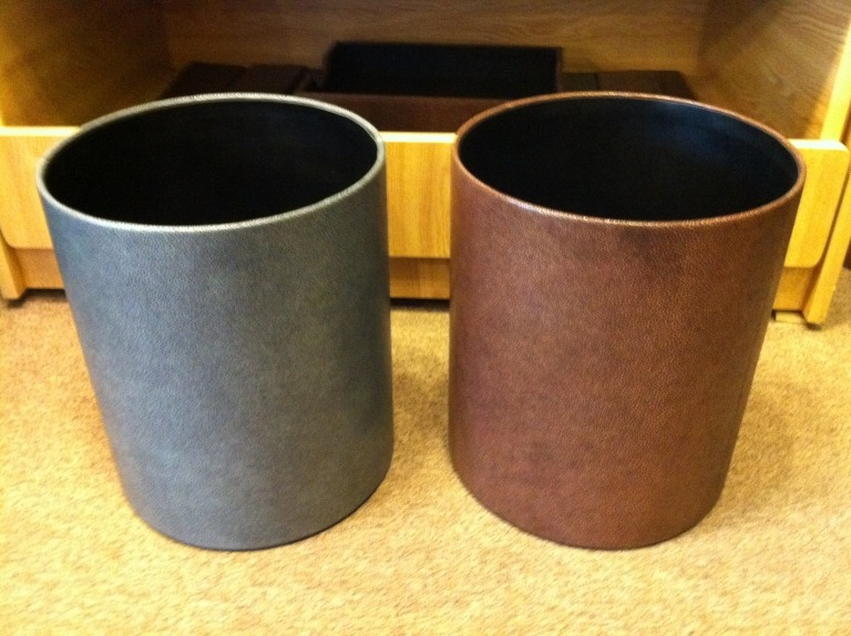 GRAPHIC IMAGE Waste Baskets in Shragen Leather
