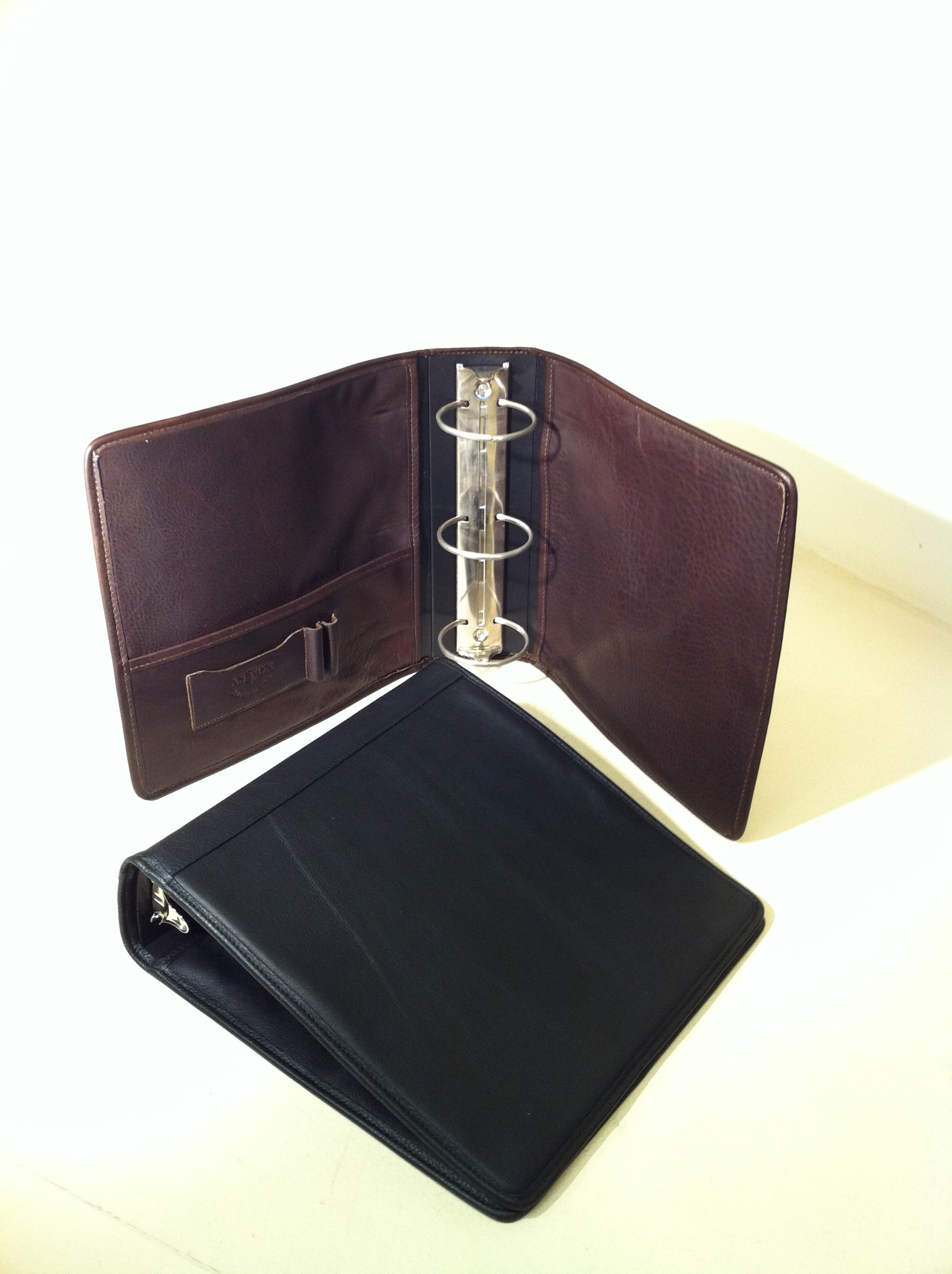 "Aston leather 3"" Three Ring Binder"
